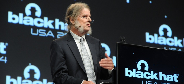 Dan Geer, In-Q-Tel's chief information security officer, delivers the keynote at Black Hat 2014, on August 6, 2014.