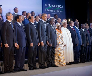 President Obama stands with African leaders during a family photo session at the U.S.-Africa Leaders Summit, on August 6, 2014, at the State Department.