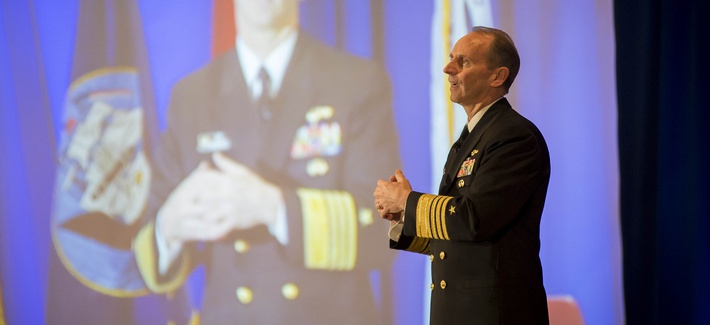 Chief of Naval Operations Adm. Jonathan Greenert speaks to the American Society of Naval Engineers about warfighting technology, on February 21, 2013.