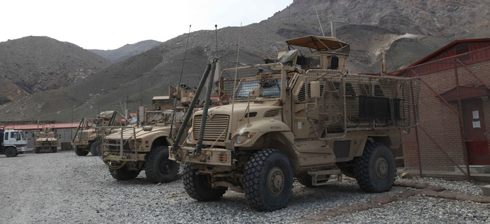 MRAPs sit at Forward Operating Base Tagab, Kapisa province, Afghanistan.