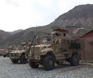 MRAPs sit at Forward Operating Base Tagab, Kapisa province, Afghanistan.