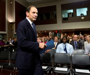 Veterans Affairs Secretary (nominee at the time) Robert McDonald arrives for a Senate Veterans' Affairs Committee hearings to examine his nomination to be Secretary of Veterans Affairs on Capitol Hill in Washington, July 22, 2014.