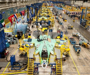 An F-35 sits in a production line at Lockheed Martin's Factory in Fort Worth, Tx.