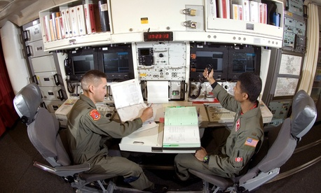 Two Air Force lieutenants remain on duty at an underground launch control center at Minot Air Force Base Missile Alert Facility B-1.