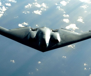 A B-2 Spirit bomber soars during a deployment to Andersen Air Force Base, Guam