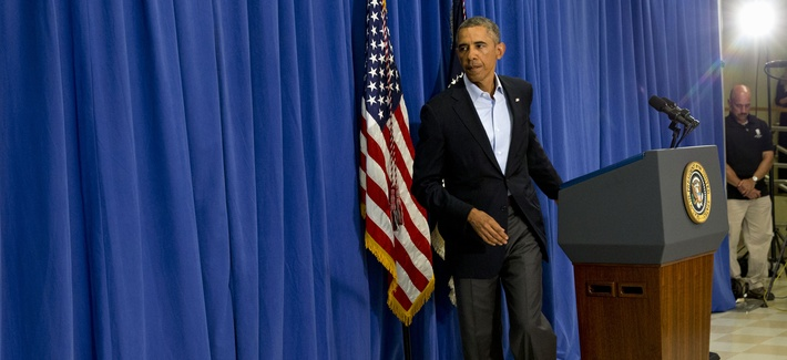 President Obama turns to leave the podium after speaking about the killing of American journalist James Foley in Edgartown, Mass., on Wednesday.
