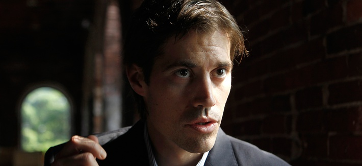 Journalist James Foley, of Rochester, N.H., responds to questions during an interview with The Associated Press, in Boston, May 27, 2011.