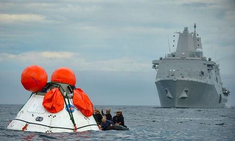 Sailors from the USS Anchorage participate in the second underway recovery test for the NASA Orion program.