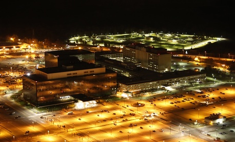 A helicopter level view of the National Security Agency's headquarters at Fort Meade, Maryland.