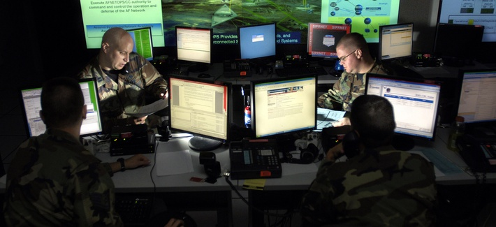 Air Force airmen at Barksdale Air Force Base update anti-virus software for units to assist in the prevention of cyberspace hackers.