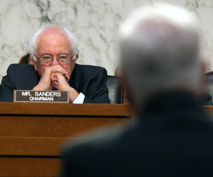 Senate Veterans Affairs Committee Chairman Sen. Bernie Sanders, I-Vt. listens on Capitol Hill in Washington, Sept. 9, 2014, as Veterans Affairs acting Inspector General Richard Griffin, right, testifies.