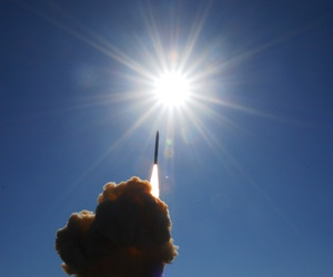 A ground based interceptor lifts off from Vandenberg Air Force Base during a test of the Ballistic Missile Defense System.