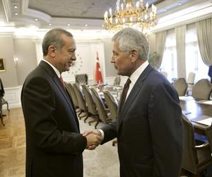 Defense Secretary Chuck Hagel shakes hands with Turkish President Reçep Tayyip Erdogan at Çankaya Palace in Ankara, Turkey.