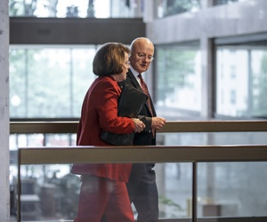 Sen. Dianne Feinstein, D-Calif., walks with Director of National Intelligence James Clapper after a closed door briefing on Capitol Hill, on September 9, 2014.