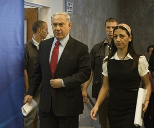 Israeli Prime Minister Benjamin Netanyahu arrives to a cabinet meeting in Jerusalem, on June 29, 2014.
