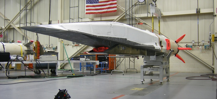 An X-51A Waverider test vehicle sits at Edwards Air Force Base.