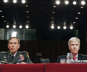 Gen. David Petraeus and Ambassador Ryan Crocker testify on Capitol Hill about the ongoing situation in Iraq, on April 8, 2008.
