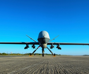 An MQ-9 Reaper sits on the flight line at Hurlburt Field, Fla, on May 3, 2014.