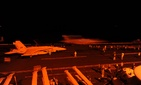 An F/A 18 Super Hornet with the Strike Fighter Squadron 31 prepares to launch from the USS George H.W. Bush to strike ISIL targets in Syria, on Septem