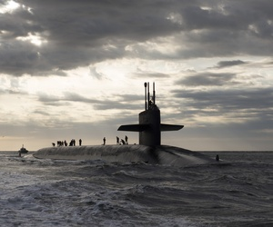 The USS Rhode Island, an Ohio-class ballistic missile submarine, returns to Naval Submarine Base Kings Bay after three months at sea.