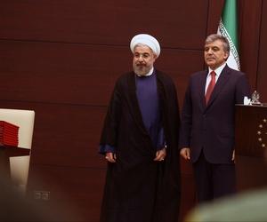 Turkey's President Abdullah Gul (right), meets with Iran's President Hassan Rouhani at the Cankaya Palace in Ankara, Turkey.