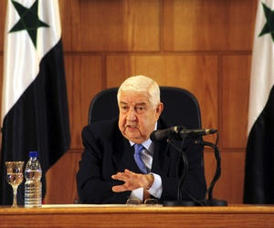 Syrian Foreign Minister Walid al-Moallem speaks during a press conference in Damascus, Syria, on August 25, 2014.