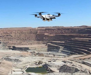 One of Skycatch Inc.'s quadcopter drones in flight.