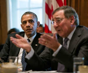 Former Defense Secretary Leon Panetta speaks during a Cabinet meeting in the White House, on November 28, 2012.