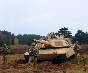 Soldiers assigned to the 1st Brigade Combat Team from Ft. Hood, Texas, demonstrate the capabilities of their vehicles at Military Base Adazi, Latvia.