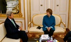 Secretary of State John Kerry sits down with EU High Representative Catherine Ashton and Iranian Foreign Minister Javad Zarif in Vienna, on October 15, 2014.