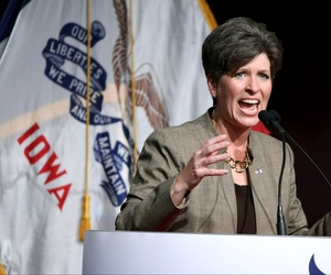 Republican senatorial candidate State Sen. Joni Ernst, speaks during the Iowa Faith and Freedom Coalition fall fundraiser on Saturday, Sept. 27, 2014, in Des Moines, Iowa.