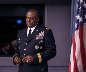 CENTCOM chief Gen. Lloyd Austin prepares to brief reporters about Operation Inherent Resolve in the Pentagon briefing room, on October 17, 2014.