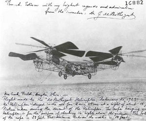 A helicopter designed by George DeBothezat, makes a descent at McCook Filed after remaining airborne for nearly 3 minutes.