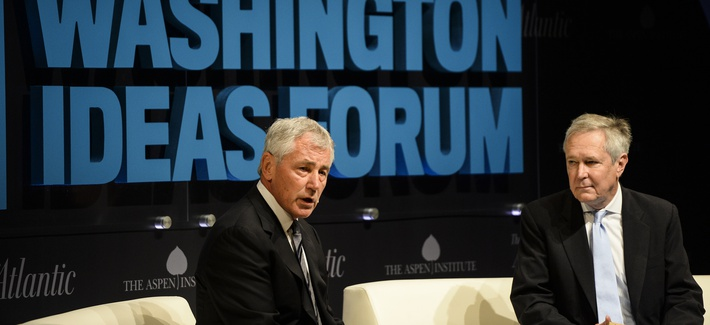 Defense Secretary Chuck Hagel speaks at the Washington Ideas Forum at the Shakespeare Theater in Washington D.C., on October 29, 2014.