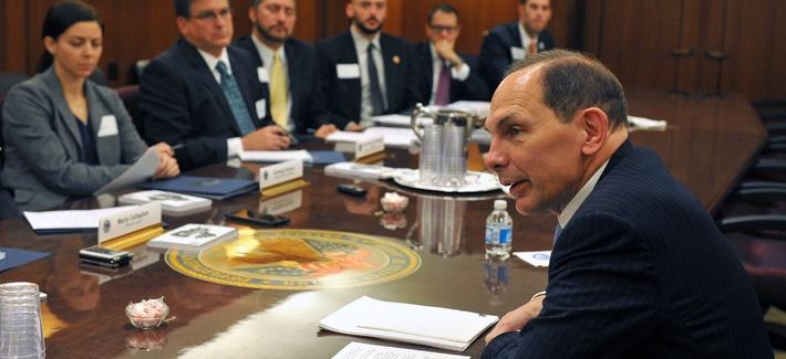 VA Secretary Bob McDonald holds a round table meeting with staff members from Veteran Service Organizations, on November 5, 2014.