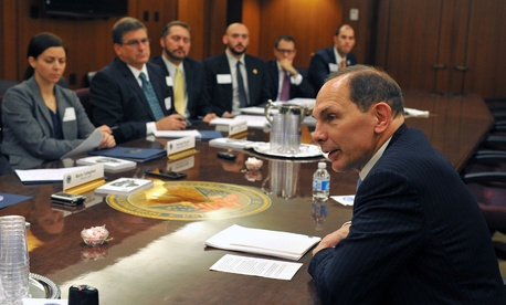 VA Secretary Bob McDonald holds a round table meeting with staff members from Veteran Service Organizations, on November 5, 2014.