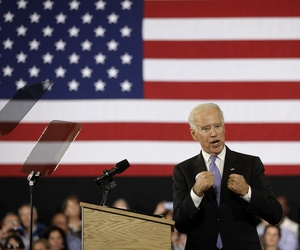 Vice President Joe Biden addresses an audience while campaigning for Seth Moulton in Massachusetts, on October 29, 2014.