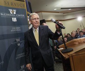 Sen. Mitch McConnell, R-Ky., holds a news conference the day after the Midterm elections, on November 5, 2014.