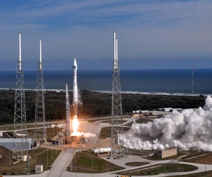 A United Launch Alliance Atlas V launches from Space LAunch Complex-41 launch pad, on February 11, 2010.