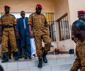 Burkina Faso Lt. Col issac Yacouba Zida leavse a government building after meeting with political leaders in Ouagadougou, Burkina Faso, on November 4, 2014.