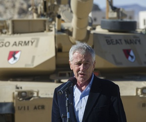 Defense Secretary Chuck Hagel addresses soldiers at the National Training Center at Fort Irwin, Calif., on November 16, 2014.