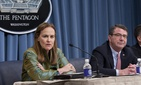 Deputy Defense Secretary Ash Carter and Under Secretary of Defense for Policy Michele Flournoy brief the press at the Pentagon, on January 5, 2012.