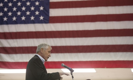 Defense Secretary Chuck Hagel addresses the press after speaking to troops at Fort Campbell, Ky., on November 17, 2014.