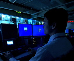 An official with the Defense Intelligence Agency works at one of the watch centers at headquarters.