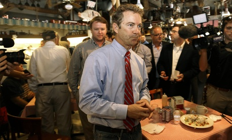 Sen. Rand Paul, R-Ky., mingles during a meet and greet with North Carolina Republican Senatorial candidate Thom Tillis, on October 1, 2014.