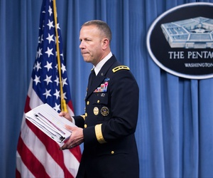 Maj. Gen Jeffrey Snow, the head of the Sexual Assault Prevention and Response Office,  leaves a news conference at the Pentagon, on May 1, 2014.