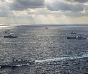 U.S. Navy and Japan Maritime Self Defense Force ships are underway at exercise Keen Sword 15, on November 19, 2014.