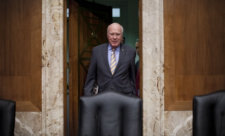 Sen. Patrick Leahy, D-Vt., arrives for a committee hearing on Capitol Hill, on April 8, 2014.
