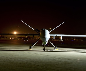 An MQ-9 Reaper sits on the flight line at Hurlburt Field, Fla., on April 24, 2014.