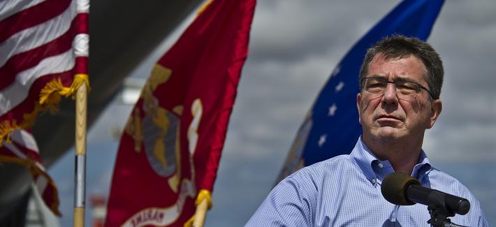 Then-Deputy Defense Secretary Ash Carter speaks to service members from U.S. Pacific Command aboard the USS Missouri on July 7, 2012.